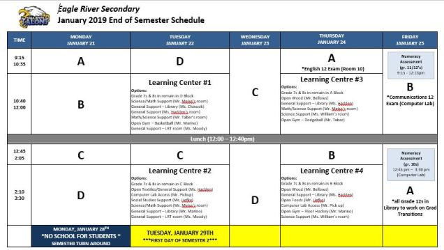 end of semester schedule january 2019